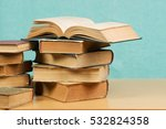 open book  stack of hardback... | Shutterstock . vector #532824358