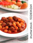 meatball and potato stew.... | Shutterstock . vector #532834264