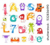 set of twenty colorful pretty... | Shutterstock .eps vector #532836490