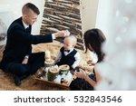 family celebration of the new... | Shutterstock . vector #532843546