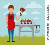cartoon man with a barbecue... | Shutterstock .eps vector #532863268