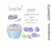hand drawn cupcake with doodle... | Shutterstock .eps vector #532864078