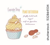 hand drawn cupcake with doodle... | Shutterstock .eps vector #532864534