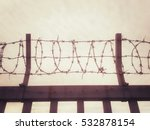 Pattern Of Rusty Barbed Wire...