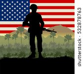 Original illustration of American soldiers in the Vietnam War of the 1960s. US Flag and jungle background.