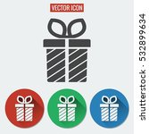 gift box flat vector icon...