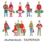 happy family in santa hats... | Shutterstock .eps vector #532905424