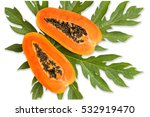 papaya fruit on isolated white... | Shutterstock . vector #532919470