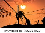 electrician working on electric ... | Shutterstock . vector #532934029