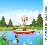 cartoon boy fishing on a boat
