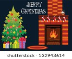 fireplace  christmas tree gifts | Shutterstock .eps vector #532943614