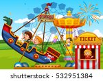 children playing on rides at... | Shutterstock .eps vector #532951384