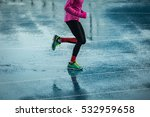 young woman running on track in ... | Shutterstock . vector #532959658