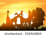 Safari In Africa. Silhouette...