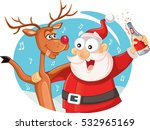 santa claus and his reindeer... | Shutterstock .eps vector #532965169