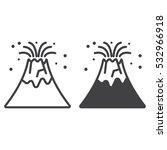 volcano eruption line icon ... | Shutterstock .eps vector #532966918