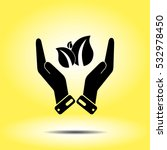 Icon Of Eco And Hand On Yellow...