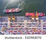 container ship in export and... | Shutterstock . vector #532983070