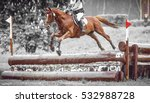 rider jumps a horse during... | Shutterstock . vector #532988728