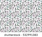 floral pattern with leaves ... | Shutterstock .eps vector #532991383