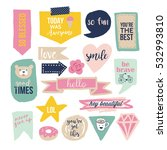 stylish hand drawn stickers and ... | Shutterstock .eps vector #532993810