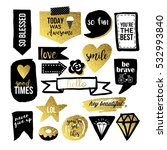 stylish hand drawn stickers and ... | Shutterstock .eps vector #532993840