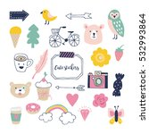 stylish hand drawn stickers for ... | Shutterstock .eps vector #532993864