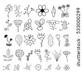 set of flower doodles   Shutterstock .eps vector #533000299