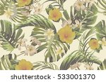 tropical flowers  palm leaves ... | Shutterstock .eps vector #533001370