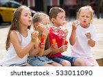 four positive kids in school...   Shutterstock . vector #533011090
