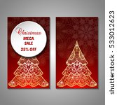 set of stylized christmas tree... | Shutterstock .eps vector #533012623