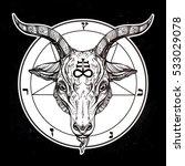 pentagram with demon baphomet.... | Shutterstock .eps vector #533029078