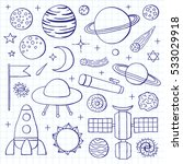 set of hand drawn outline space ... | Shutterstock .eps vector #533029918
