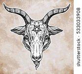 pentagram with demon baphomet.... | Shutterstock .eps vector #533033908