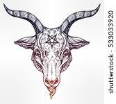 pentagram with demon baphomet.... | Shutterstock .eps vector #533033920