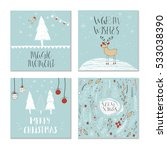 set of 4 cute gift cards and... | Shutterstock .eps vector #533038390
