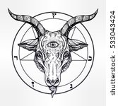 pentagram with demon baphomet.... | Shutterstock .eps vector #533043424