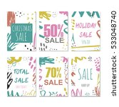 set of 6 creative sale holiday... | Shutterstock .eps vector #533048740