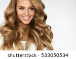 beautiful curly hair. smiling... | Shutterstock . vector #533050534