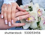groom and bride hand in hand | Shutterstock . vector #533053456