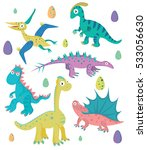 funny cartoon dinosaurs... | Shutterstock .eps vector #533056630