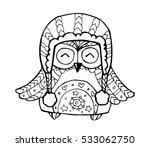 xmas owl. merry christmas. cute ... | Shutterstock .eps vector #533062750