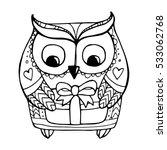 owl isolated. merry christmas.... | Shutterstock .eps vector #533062768