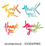 thank you card set. hand drawn... | Shutterstock .eps vector #533069980