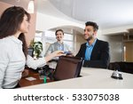 two business man arriving to... | Shutterstock . vector #533075038