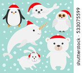 Stock vector arctic polar animal set in red santa hat white bear owl penguin seal pup baby harp hare rabbit 533075599