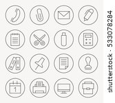 office thin line icon set
