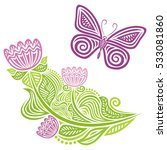 beautiful butterfly and flower. ... | Shutterstock .eps vector #533081860
