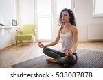 calm sportswoman relaxing at... | Shutterstock . vector #533087878