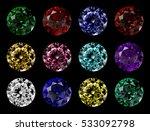 set of 12 round cut gems of... | Shutterstock . vector #533092798